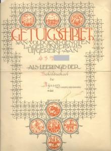 Getuigschrift Schildschool 2